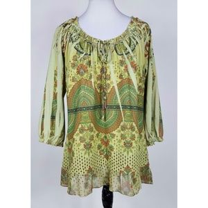 Green Patterned Peasant Tunic Top Women's XL